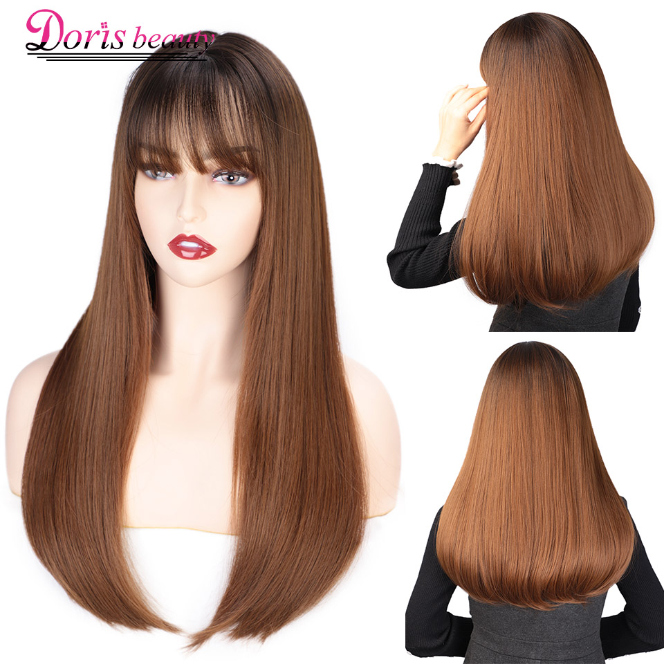 Doris Beauty Long Straight Synthetic Wig With Bangs Dark Root Ombre Brown Wigs For Black White Women Cosplay Heat Resistant Hair