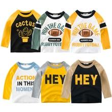 Детские футболки, топы с длинными рукавами для мальчиков, осенне-зимний хлопковый свитер для девочек, футболки для детей 2, 3, 4, 5, 6, 7, 8 лет, одежда