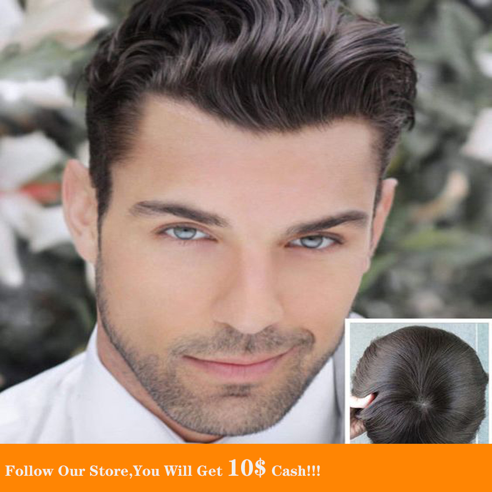 BYMC Thin Men's Toupee Swiss Lace And PU Hair Replacement Systems Handmade Wig Natural Remy 6 Inch European Human Hair For Men