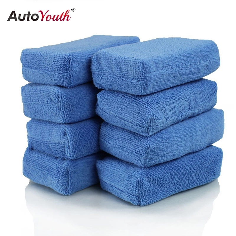 AUTOYOUTH Car Cleaning Sponge Cloths Car Cleaning Cloths Car Wax Polishing Pad Car Detailing Microfiber Applicators (Pack Of 8)