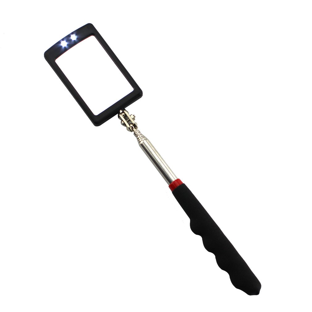 Led Telescopic Nonslip Inner Wall Inspection Mirror Vehicle Bottom Angle View Detection Tool Equipment With Rubber Grip