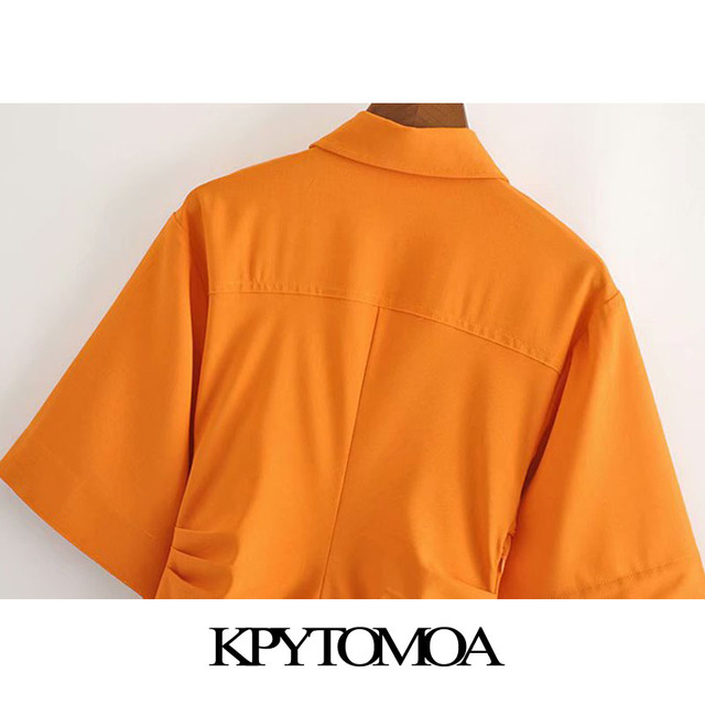 KPYTOMOA Women 2020 Chic Fashion Button-up Draped Midi Shirt Dress Vintage Short Sleeve Side Zipper Female Dresses Vestidos 6