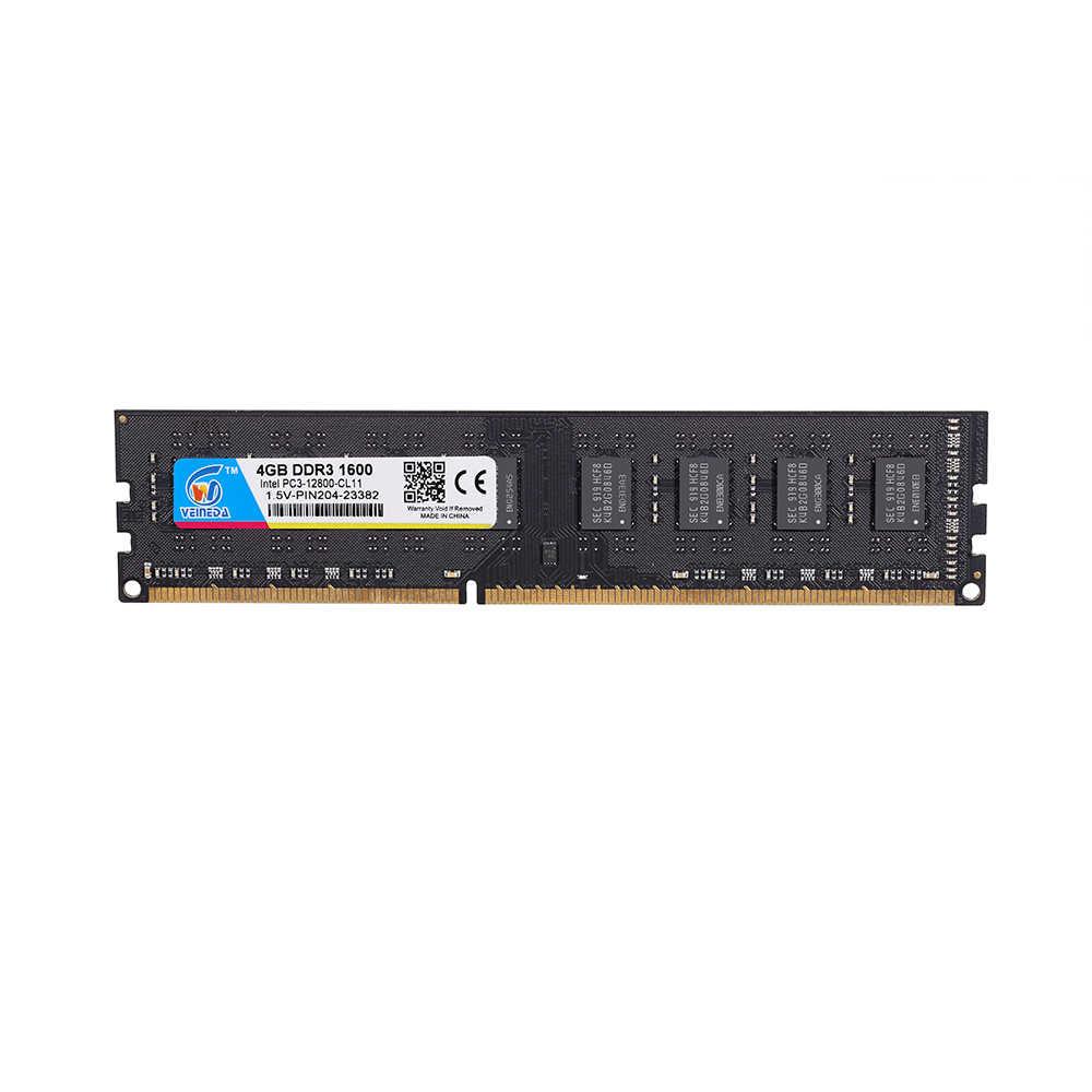 Veineda Memoria DDR3 RAM 4 GB DDR3 1066 MHz Cho DIMM DDR3 RAM 1333 1600 Tương Thích Tất Cả Intel AMD máy Tính Để Bàn PC3-12800 240pin