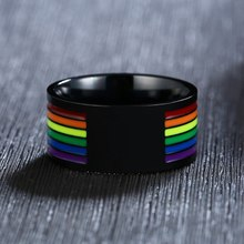 Stainless Steel Enamel Rainbow Pride Ring For Lesbian Gay Wedding Engagement Bands 10mm Men Gifts(China)