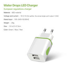 FONKEN Dual USB Charger Drop LED Light 2 Port Universal Phone Tablet 5V 2.1a Charger Portable Power Android Adapter