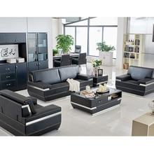Sofa Office Modern Set Coffee-Table-Set Manager-Room Boss Three-Seat Steel Gold Black
