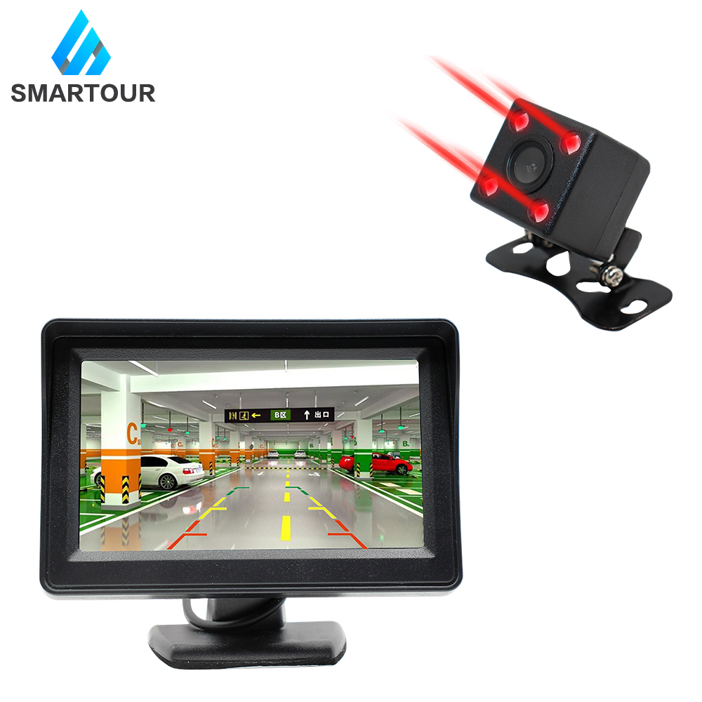 SMARTOUR Waterproof Car Rear View Camera with 4.3 inch Monitor and Night Vision HD Color Image for Easy Parking 2