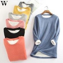 Womil mulheres camiseta inverno veludo manga longa quente t camisa streetwear vintage algodão mais feminina sólida senhoras engrossar fundo