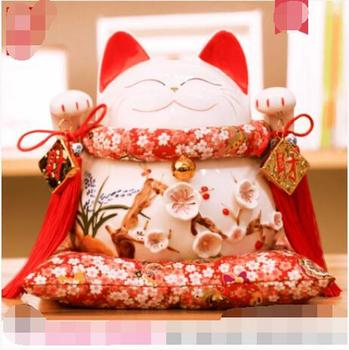 Hot Selling Newest Golden Lucky Cat Maneki Neko Ornaments Electric Swing Shop Gift Rich Cat Ceramic Piggy Bank Lucky Cat Wealth
