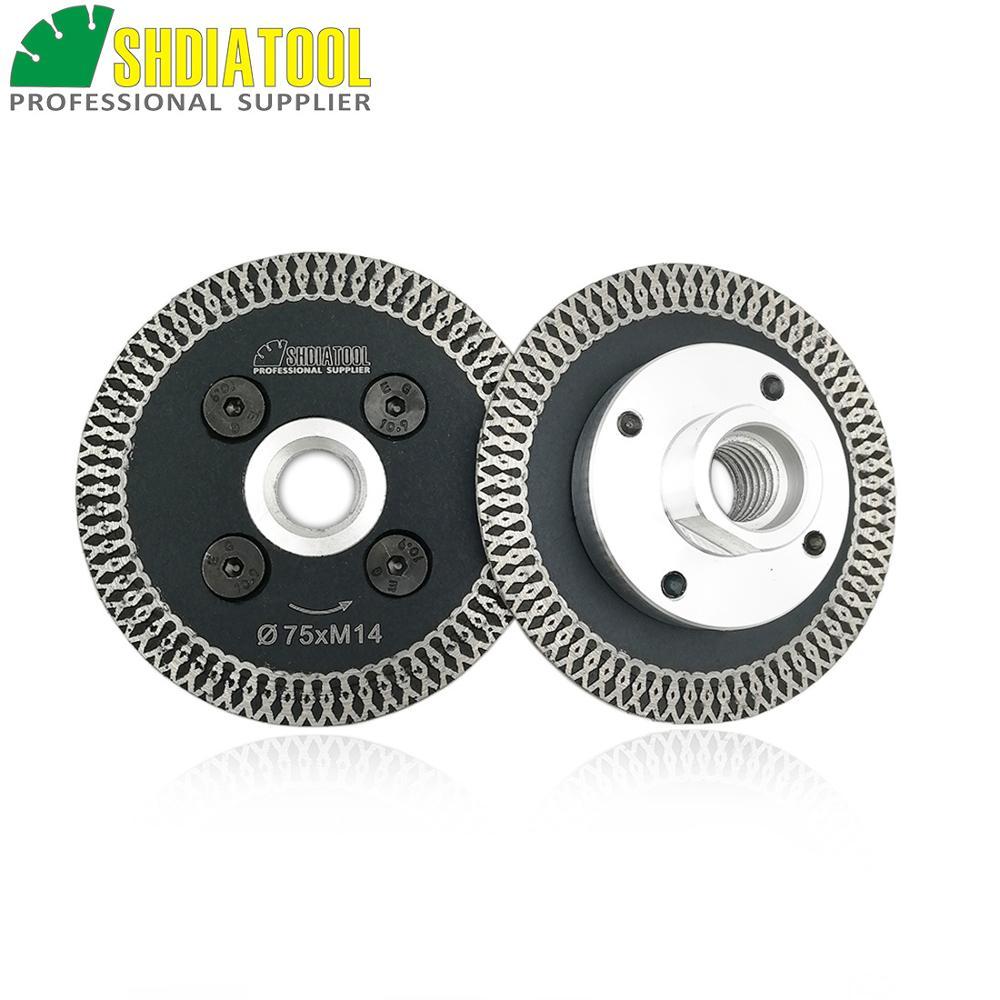 SHDIATOOL 2 Pcs 75mm Hot Pressed Mini Mesh Turbo Rim Diamond Blades With Removable M14 Flange  Carving Blade Cutting Disc