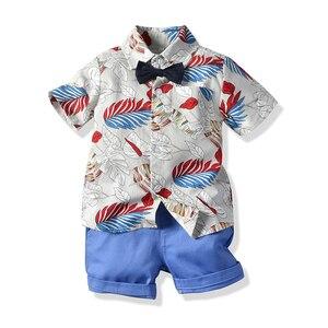 Изысканная одежда для мальчиков, костюмы для малышей, комплект из 2 предметов для мальчиков, новая короткая футболка с принтом листьев, Коро...
