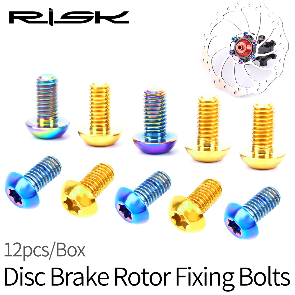 12pcs/set M5x10mm Torx Round Head T25 Titanium Alloy TC4 Disc Brake Rotor Fixing Bolts For Mountain Road Bike Bicycle