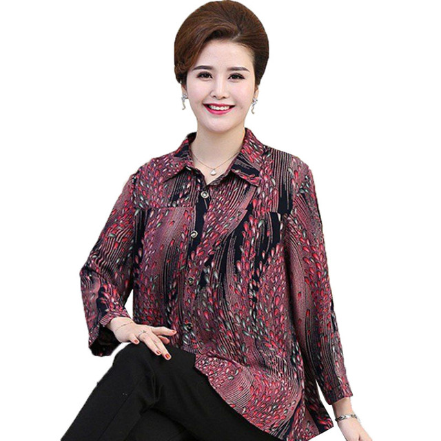 Middle-aged and Elderly Women's Shirts 7XL Oversized Printing Spring Summer Shirt Blouse Basic Section Grandmother Tops Coat 1