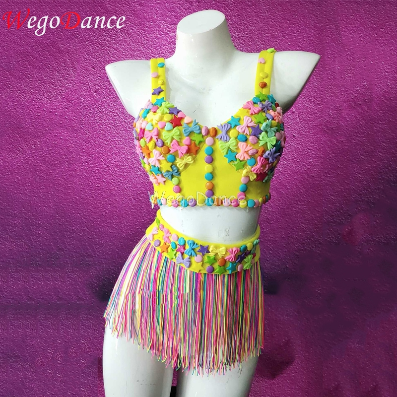 Multi-color Rhinestones Ribbon Colorful Fringes Birthday Celebrate Prom Outfit Bar Women Singer Dancer Costume Set