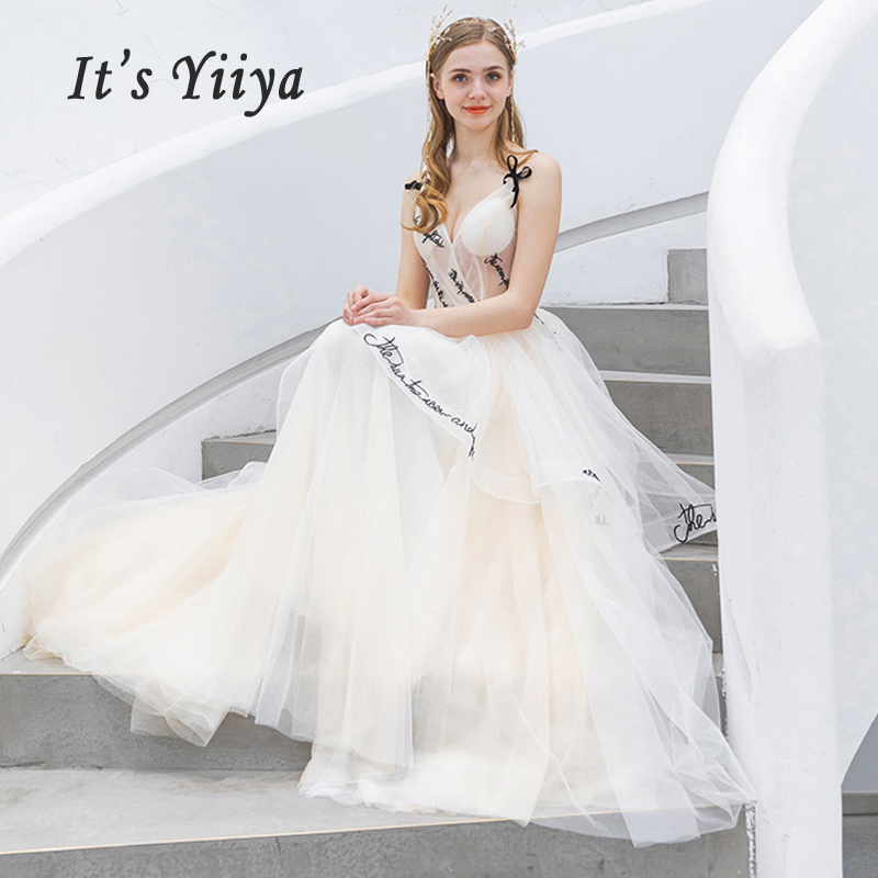It's Yiiya Evening Dress V-neck Robe De Soiree Sleeveless Women Party Dresses 2019 Long Plus Size Embroidery Evening Gowns E648