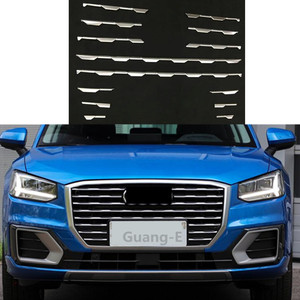 Для Audi Q2 Q2l 2018 2019 2020 Защитная крышка для автомобиля детектор Abs хромированная отделка гоночная решетка гриль решетка литье