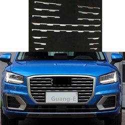 Dla Audi Q2 Q2l 2018 2019 2020 samochodów pokrywa detektor ochrony Abs chromowane wykończenie wyścigi siatki Grill Grille formowania Chromowane wykończenia    -