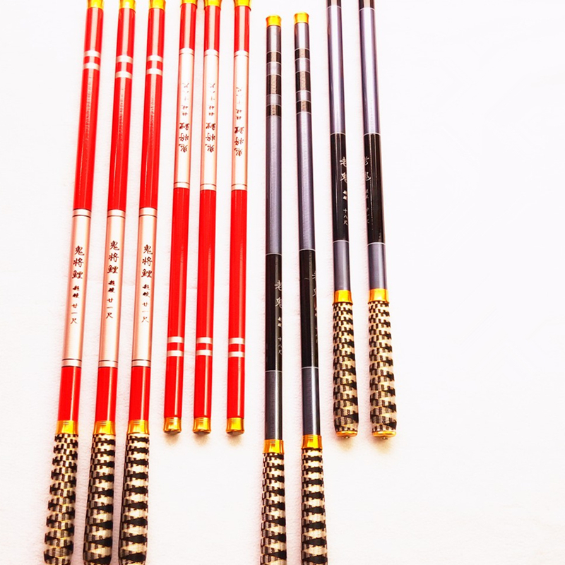 Hot Telescopic Carbon Fiber Super Hard 2.7~7.2M +1 Spare Top Tips Rod Ultra Light Carp Fishing Pole Stream Fishing Rod Hooks