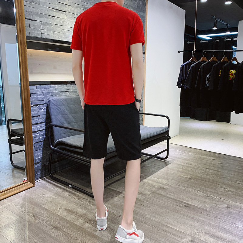 Men's 2020 Thin T-shirt Fitness Two-piece Solid Color Paris Printing Round Neck Jogging Youth Running Sports Suit