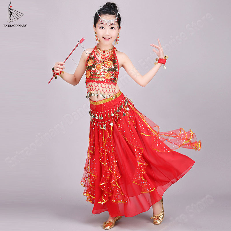 Children Belly Dance Costumes Top Belt Skirt Set <font><b>kids</b></font> <font><b>Indian</b></font> Bollywood Girls Dance Clothing <font><b>Sari</b></font> Chiffon Coin Performance <font><b>kids</b></font> image