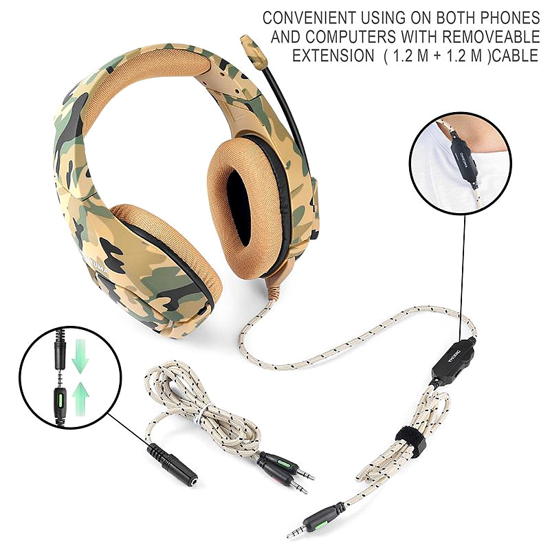 Camouflage Gaming Headset Stereo Deep Bass Gaming Headphones Casque Game Earphones with Microphone for PC Mobile Phone PS4 Xbox