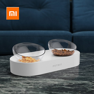 Image 1 - Xiaomi PETKIT Pet Bowl Feeding Dishes Adjustable Double Feeder Bowls Water Cup Cat Bowls Drinking Bowl Plastic / Stainless Steel