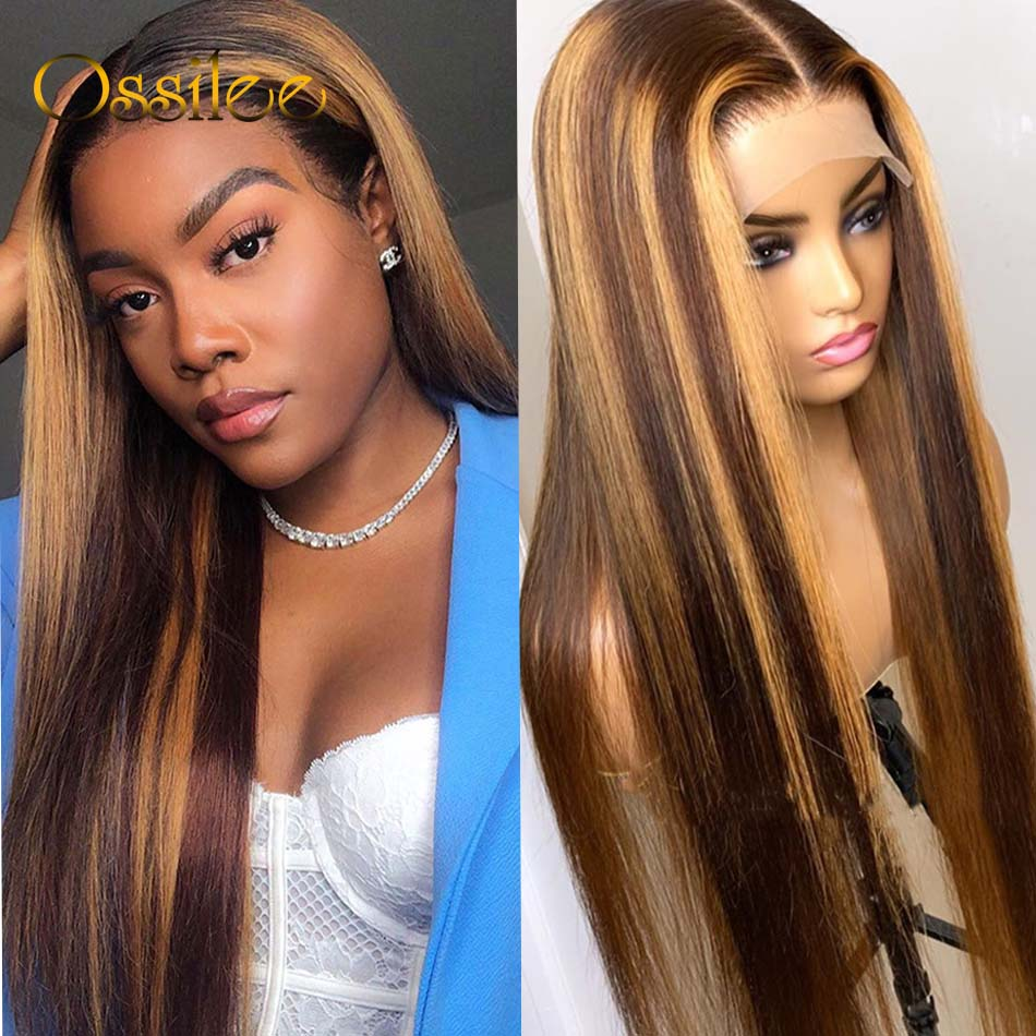 Ossilee Straight Highlight Wig 4x4 Closure Wig Piano Color 13x4 Lace Front  Wigs 4/27 Ombre  13x6 Lace Front Wig 1