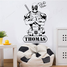 Superhero Deadpool marvel comics wall sticker vinyl art home decor room bedroom personalised name wall decals 3A84