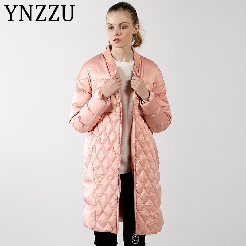 YNZZU 2019 Fashion Pink Black Long Bomber Jacket Women Casual Autumn Zipper 90% White Goose Down Coat Winter Warm Outwears A1092