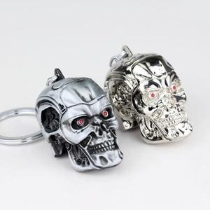 Image 4 - 10 unids/lote joyas de plata joyería de moda colgante película el exterminador esqueleto llavero de máscara calavera llavero para hombres llavero de coche