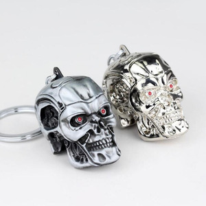 Image 4 - 10pcs/lot Fashion Jewelry Silvery Jewelry Pendant Movie Terminator Skeleton Mask keychain Skull Key Ring For Men Car Key Chain