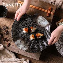 FANCITY – assiette ménagère en céramique, assiette à dîner, vaisselle japonaise créative, style japonais rétro, assiette à sushi, assiette à steak