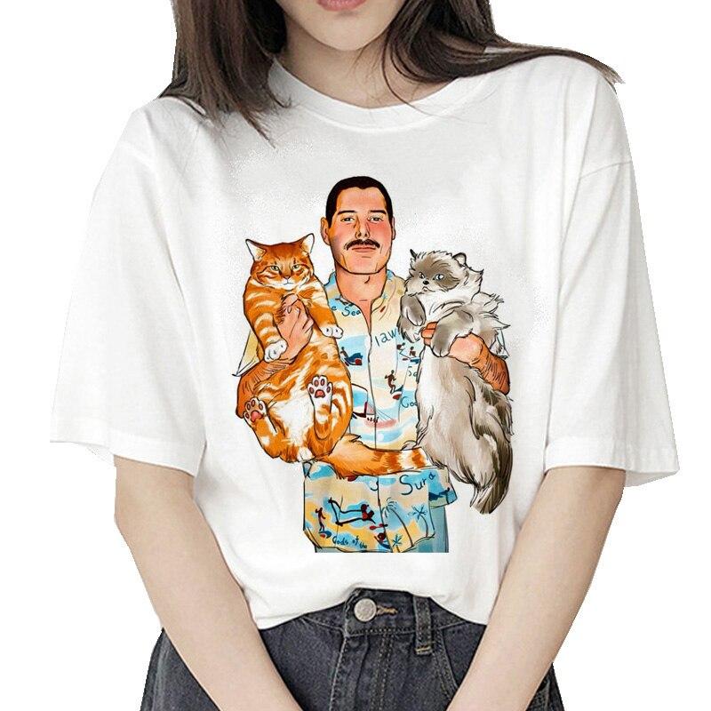 Freddie Mercury T Shirt Hip Hop Women Fashion Streetwear Tshirt Clothes Vintage Harajuku Ulzzang T-shirt Graphic 90s Female Tops