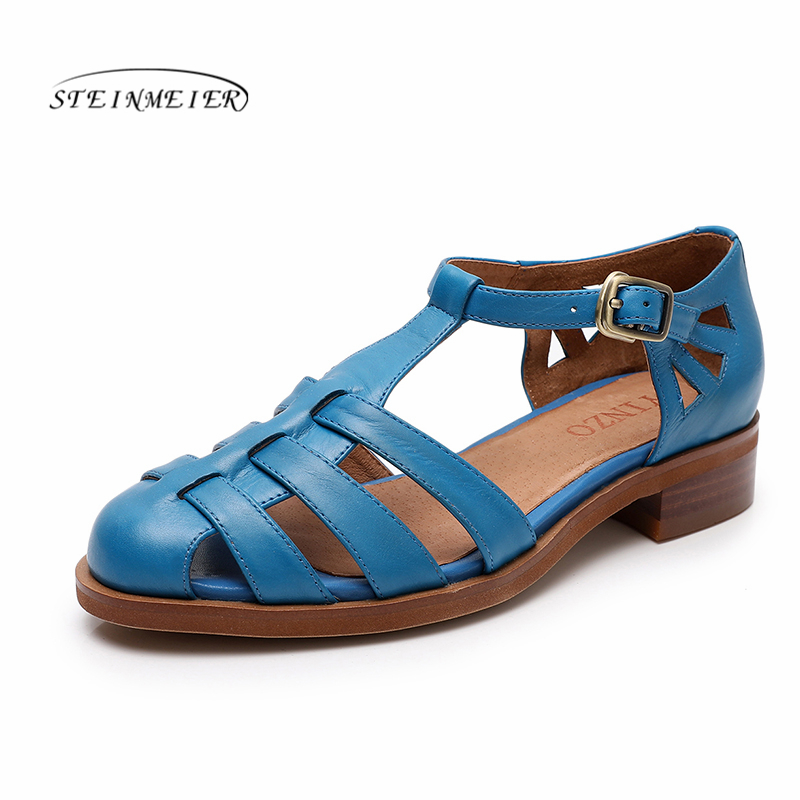 Women sandals oxford shoes Yinzo vintage genuine leather blue flat gladiator oxfords summer sandals for women shoes 2020