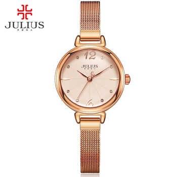 JULIUS Marke Damen Rose Gold Uhr Runde Zifferblatt Voller Stahl Mesh Band Japan Quarz Kleid Uhr Frauen Wasserdichte Geschenk Uhr
