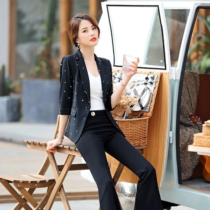 Fashion Women Elegant Notched Blazer Female Single Button Polka Dot Blazers Office Lady Half Sleeve Plus Size Blazer