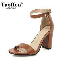 Taoffen Plus Size 32-46 Women Sandals Shoes Fashion Metal Bu