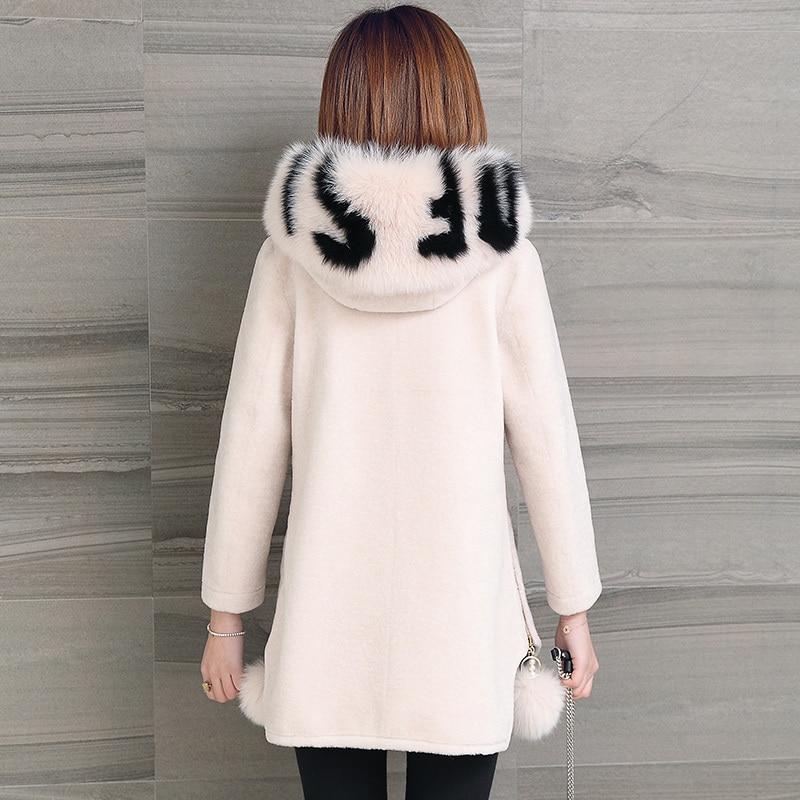 Genuine Fur Coat Women Autumn Winter Warm Thick Sheep Shearing Fox Fur Jackets Top Quality Hooded Outwear 2020 MF525