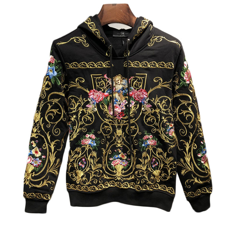 mens luxury golden embroidery flower hooded sweater/white/black hoodies/pullover 5