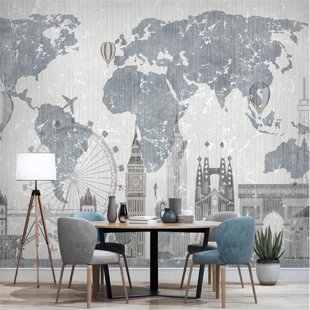 Milofi world map city architecture goddess of liberty TV background wall painting