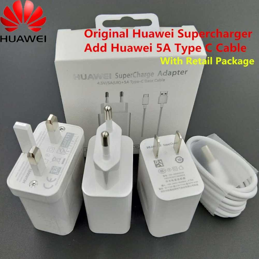 Huawei P20 Supercharger เดิม 5v 4.5a Usb Wall Charge Adapter Type C สำหรับ Honor 9 10 หมายเหตุ 10/p10 Plus/mate 10 Pro