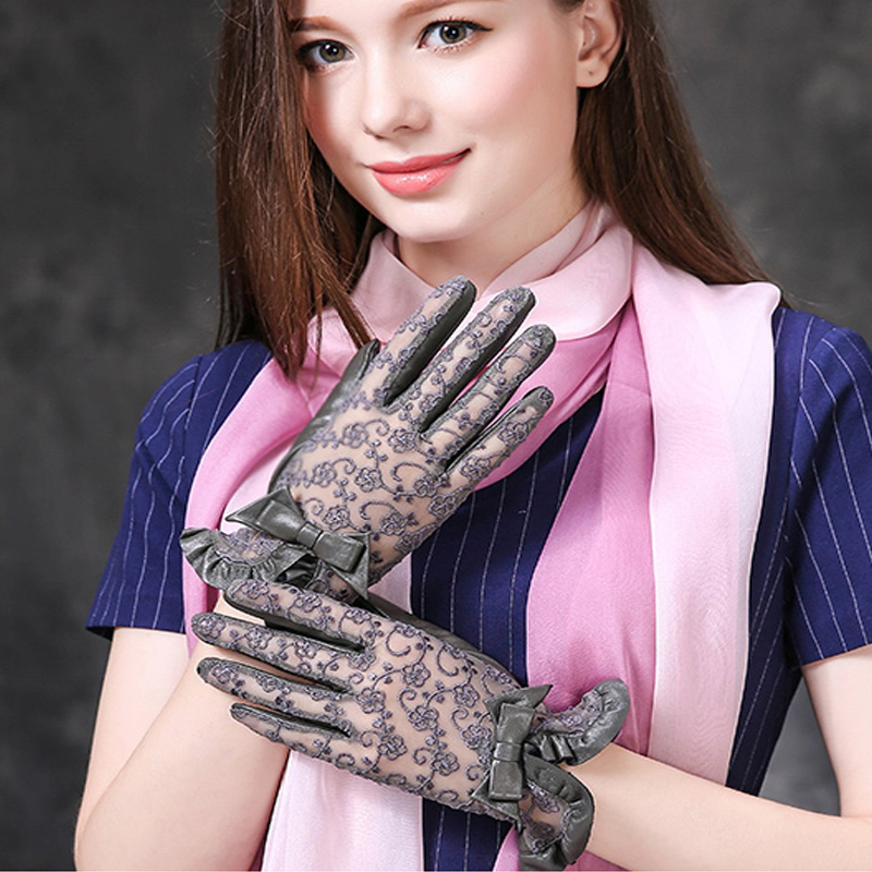 2019 Summer Touch-Screen Women Genuine Leather Gloves Ladies Elegant Lace Sun Gloves Female Black Driving Gloves Anti-UV S M L