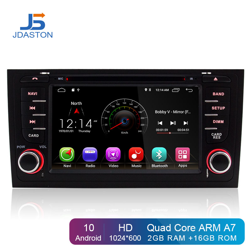 JDASTON Android 10.0 Car DVD Player For <font><b>AUDI</b></font> <font><b>A6</b></font> S6 RS6 1997-2004 WIFI Multimedia <font><b>GPS</b></font> <font><b>Navigation</b></font> 2 Din Car Radio Video Stereo RDS image