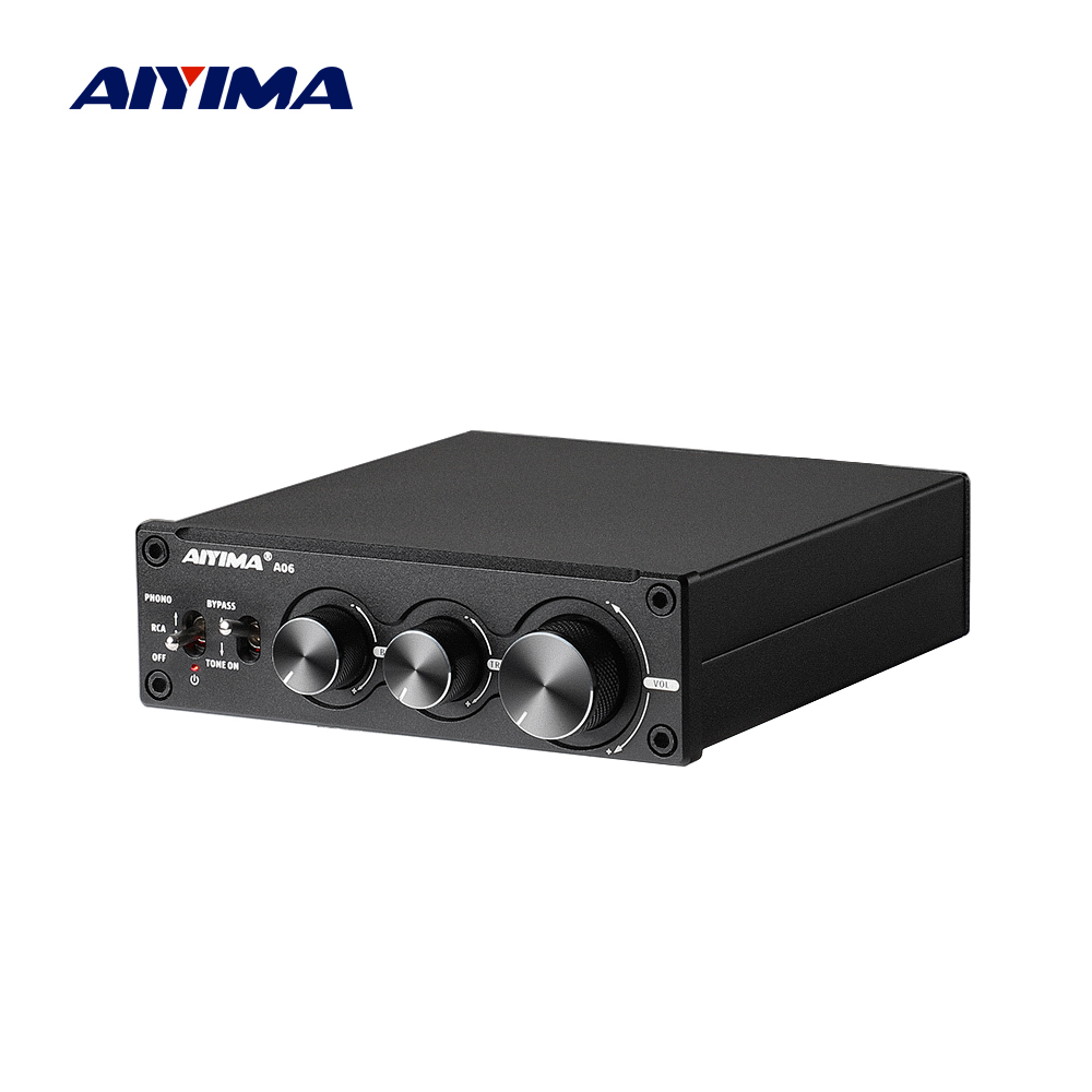 AIYIMA Audio A06 MM/MC Phono Amplifier TPA3221 100Wx2 Stereo HiFi Power AMP for Turntable Phonograph Preamp Treble Bass Control