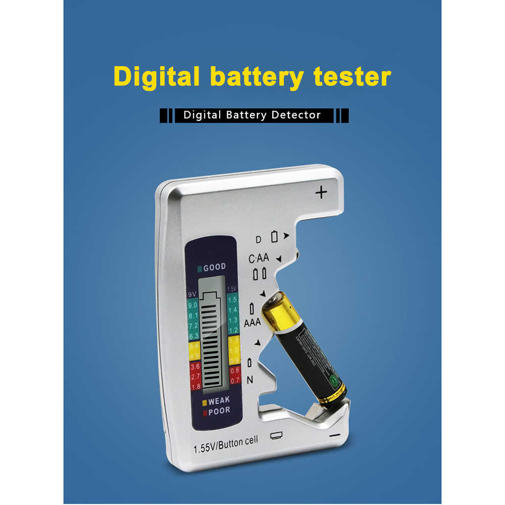 Digitale Batterij Capaciteit Diagnostic Tool Batterij Tester LCD Display Controleren AAA/AA/C//D/N/ 9 V/1.55 V Knoopcel Universele Tester