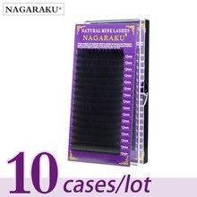 NAGARAKU pestañas de visón 3D, maquillaje clásico, 10 cajas, 16 filas, individuales, alta calidad, suaves y naturales
