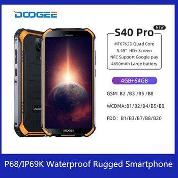 Перейти на Алиэкспресс и купить DOOGEE S40 Pro смартфон 4 Гб + 64 Гб MT6762D Octa Core 13MP IP68/IP69K Водонепроницаемый 4G мобильный телефон 5,45 ''Android 10 4650 мАч NFC
