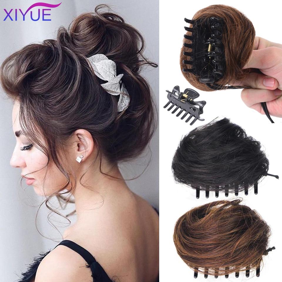 Модный женский кудрявый шиньон XIYUE, пучки для волос с зажимом для волос, шиньон для наращивания из синтетического высокотемпературного воло...