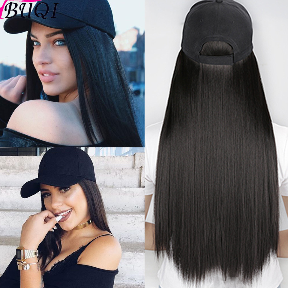 BUQI Hair 22 Inch Long Straight Hair Synthetic Hair Wig With Hat Black Brown Gold Suitable For Fashion Women