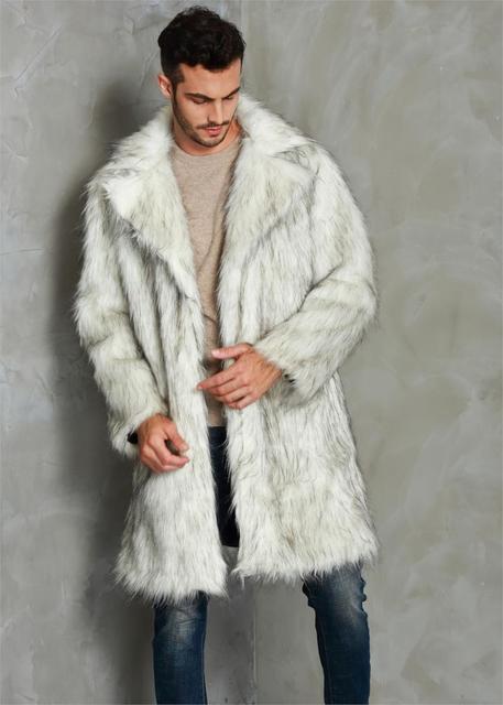 2019 Autumn Winter Overcoat Men's Square Collar Faux Mink Fur Long Coat High-Grade Man Comfortable Thick Warm Windbreaker Jacket